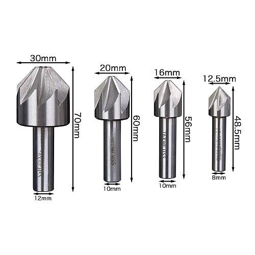 Hakkin 1Pc 12.5/16/20/30mm HSS Countersink 6/8 Flute 90 Degree Chamfering End Mill Cutter Drill Bit Chamfer Deburring Tool