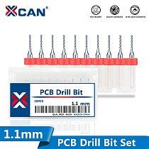 XCAN 10pcs 1.1mm PCB Print Circuit Board Carbide Micro Drill Bits 3.175mm Shank PCB Drill Bit Set