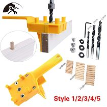 Handheld Dowel Jig Kit with Wood Dowel Pins Drill Bit Woodworking Joiner Woodworking Dowel Jig Kit
