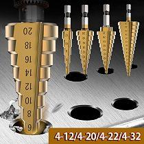 Hss step drill bit set cone hole cutter Taper metric 4 - 12 / 20 / 22/32mm 1 / 4  titanium coated metal hex core drill bits