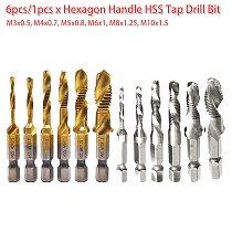 6pcs/1pcs HSS Drill Tap Countersink Deburr Set Metric Combination Drill Tap M3 M4 M5 M6 M8 M10 1/4 Hex for Soft Metal /Aluminum