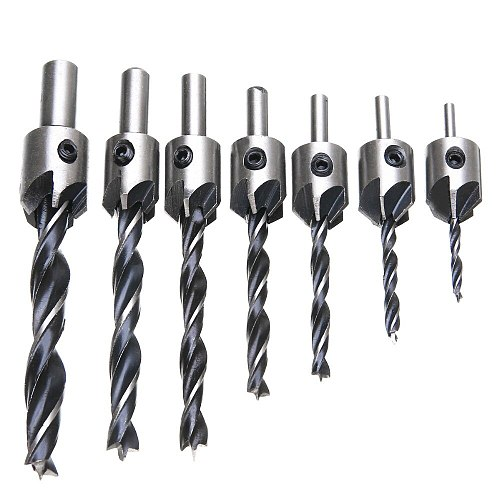 7pcs/set HSS 5 Flute Countersink Drills Bit Set Carpentry Reamer Woodworking Chamfer 3-10mm