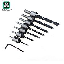 Free Shipping 7pcs 3mm-10mm HSS 5 Flute Countersink Drill Bit Set Carpentry Reamer Woodworking Chamfer End Milling Hole Wood