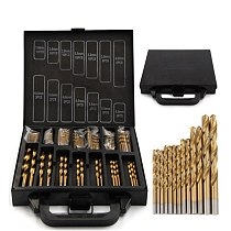 HAANZHALL  Iron Box packing 99PCS HSS Twist Drill Bits Set 1.5-10mm Titanium Coated Surface 118 Degree For Drilling woodworking