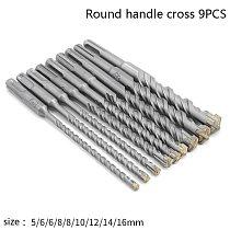 9pcs SDS Plus Drill Bit Set 160mm for Concrete Wall Brick Block Masonry Hole Saw Electric Hammer Drilling Bits 5 6 8 10 12 14 mm