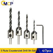 CMCP 4pcs/7pcs 5 Flute Countersink Drill Bit Set Screw Woodworking Drill Press Set 3mm-10mm Reamer Woodworking Drills