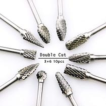 10Pcs Tungsten Carbide Double Cut Rotary Point Burr 1/8  3*6mm Shank Fit Rotary Tools Die Grinder Shank Rotary Burr Tools D30