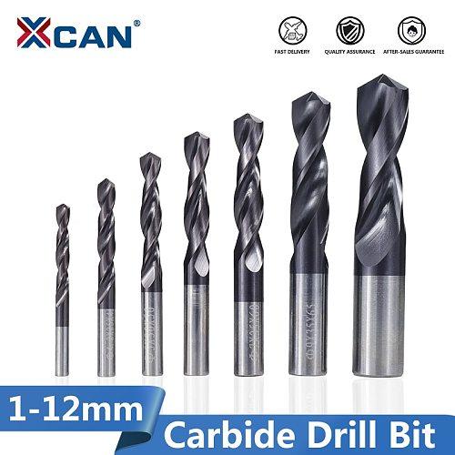 XCAN Carbide Drill Bit 1.0-12mm VAPO Coated Gun Drill Bit for CNC Lathe Machine Hole Cutter Twist Drill Bit Metal Drill Tools