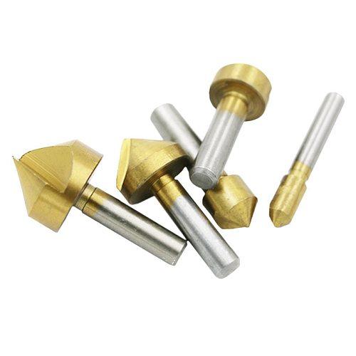 5 Pcs Countersink Drill  Set Hex Shank HSS 5 Flute Countersink 90 Degree  Chamfering Cutter Chamfer 6mm-19mm DT7