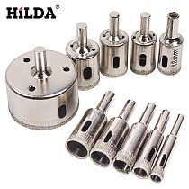 HILDA 10PCS/set 8-50mm Diamond Coated Core Hole Saw Drill Bits Tool Cutter For Tiles Marble Glass Granite Drilling Best Price