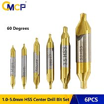 CMCP 6pcs Titanium Coated Self Centering Drill Bits 1.0-5.0mm HSS Center Drill Bit Set 60 Degree Combined Drill Bit