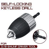 1.5-13mm Electric Drill Chuck Self-locking Keyless  3/8-24UNF Driver Tool Accessories Keyless Adapter Impact Hex Shank