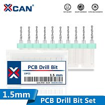 XCAN 10Pcs 1.5mm Import Mini PCB Drill Bits For Print Circuit Board Sharpening Drill Bits Carbide CNC Drilling Bit Set