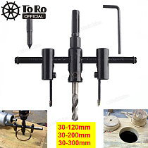 TORO 30mm-120/200/300mm Alloy Steel Adjustable Circle Hole Cutter Set with Wood Plastic Hole Saw Drill Bit Tools for Woodworking