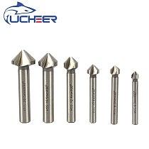 Free Shipping UCHEER 6pcs  90 Degree HSS Chamfer Cutter 6.3-20.5mm 3Flute Chamfer Drill Bit Set Countersink Drill Bit
