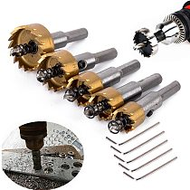 5pcs Carbide Tip HSS Hole Saw Drill Bits Set Stainless Steel Metal Wood Cutter Tool 16-30mm for Installing Locks