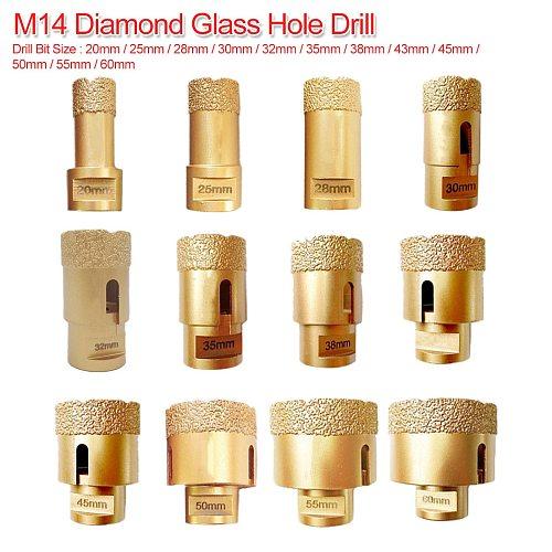 20mm-60mm M14 Vacuum Brazed Diamond Drilling Core Bit Dry Diamond Drill Bit for Tile Hole Saw Stone Drill Bit Crown Drilling Bit