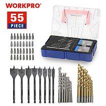 WORKPRO 55-Piece Combined Drill Bit Set Masonry Drill Bits HSS Drill Bits Wood Spade Drill Bits Screwdriver Bits