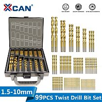 XCAN HSS P6M5 Twist Drill Bit Set 99 Pieces Diameter From 1.5mm to 10mm Titanium Coating Wood Metal Hole Drilling Cutter