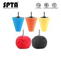 SPTA Burnishing Sponge Cone Metal Polishing Foam Cone Pad Buffing Polishing Ball 3inch 80mm For Car Wheel Hub Care
