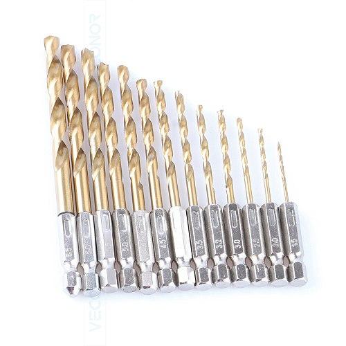 VECONOR 13Pcs Set 1/4  Hex Shank Twist Drill Bits Kit Saw HSS High Steel Titanium Coated Drill Woodworking Tools 1.5mm To 6.5mm