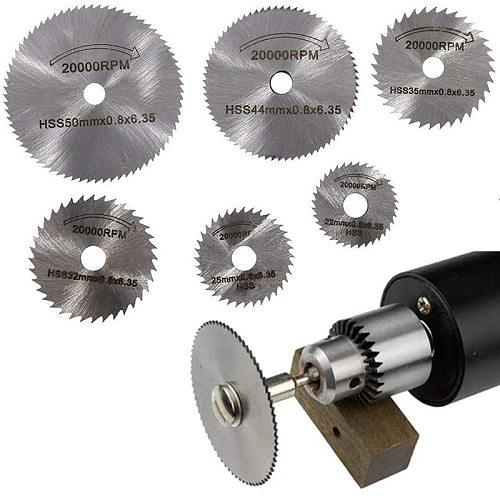 7PCS 25/32/50 HSS Circular Saw Blade Rotary Tool For Dremel Metal Cutter Power Tool Set Wood Cutting Discs Drill Mandrel Cutoff