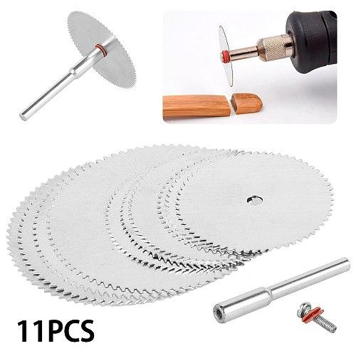 11pcs Mini Circular Saw Blade Electric Grinding Cutting Disc Rotary Tool for Dremel Metal Cutter Power Tool Wood Cutting Discs