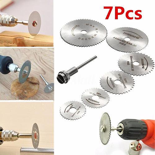WENXING 7pcs HSS Circular Saw Blade Rotary Tool For Dremel Metal Cutter Power Tool Set Wood Cutting Discs Drill Mandrel Cutoff