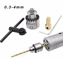 Micro Motor Drill Chuck Clamping Range 0.3-4mm Taper Mounted Mini Drill Chuck With Chuck Key 3.17mm Brass Electric Motor Shaft