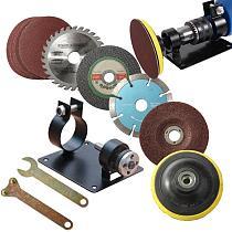 15pcs Hand Cutting Drill Seat Stand Polishing Grinding Seat Stand Holder Set Fix Machine Bracket Polish Pad Wrench Set