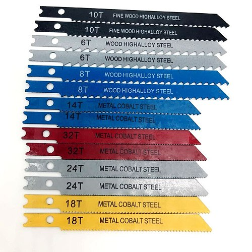 14pcs U-shank Jig saw Blade Set Assorted Metal Steel Jigsaw Blade Fitting For Plastic Wood Cutting Tools