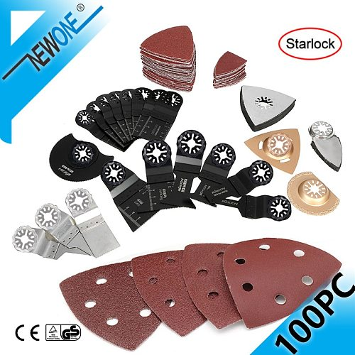 NEWONE Starlock Bi-Metal Oscillating Saw Blade Multitool Renovator Precision Saw Blades with Finger Sand Paper for Wood/Tile Cut