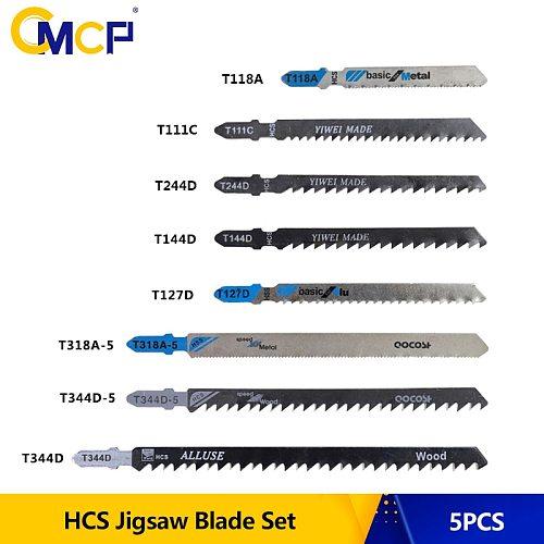 CMCP 5pcs HCS Jigsaw Blade Set T111C T118A T127D T144D T244D T318A T344D T344D-5 T Shank Saw Blade For Wood/Metal Cutting