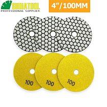 SHDIATOOL 6pcs 4 /100mm Grit #100 Diamond Resin Bond Dry Polishing Pad Granite Marble Stone Flexible Sanding Disk Polisher Disc