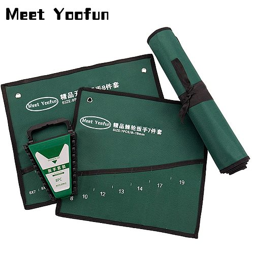 Meet Yoofun Wrench Storage Bag Roll Up Spanner Combination Canvas Hanging Bag Organizer Pouch Case Hand Tool Storage Bags