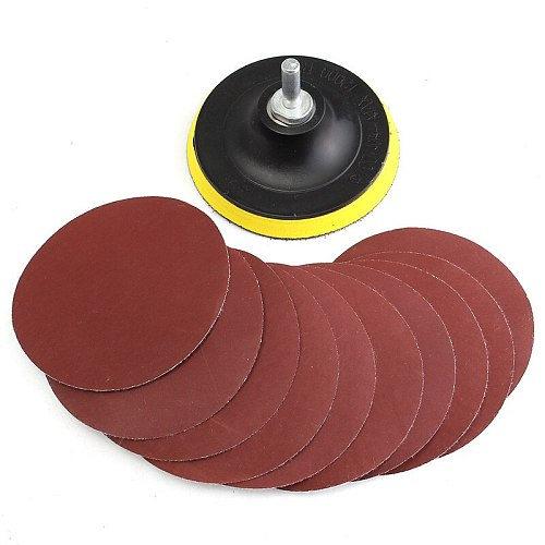 10Pcs/set 100mm Sanding Disc sandpaper 1000 Grit With Backer Pad Drill Adapter For Cleaning And  Polishing Durable Tool