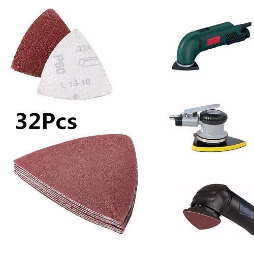 32Pcs 80mm Hook and Loop  Sand Paper Sanding Sheet for Oscillating Multi-Tools 60 120 180 240 Grit