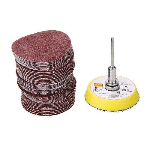 50pcs/set 50mm Sanding Disc Pads 60/80/120/150/180Grits Sandpaper Discs Sheet 1/4 Shank Extension Rod For Power Orpneumatic Tool