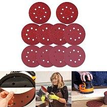 Multifunctional 40 Pcs Sanding Discs 5 Inch 8 Holes Sanding Discs Sandpaper Sanding Sheet Abrasive Tool 60 80 120 240 Grits