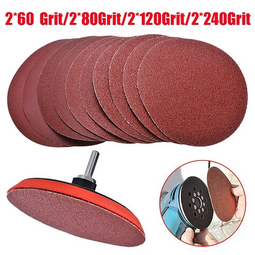 10pcs Sandpaper Set Hook and Loop 125mm Sanding Discs with Backing Pad Drill Adaptor For Woodworking Polishing Tool