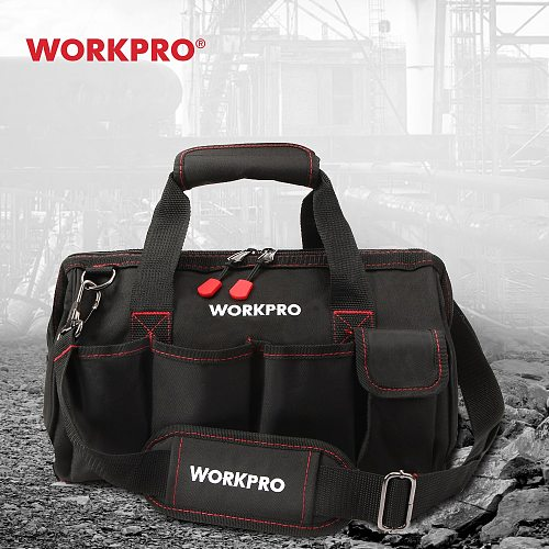 WORKPRO 12 inch Tool Bag 600D Polyester Electrician Shoulder Bag Tool Kits Bag Multi Bag Men Crossbody Bag for Tools