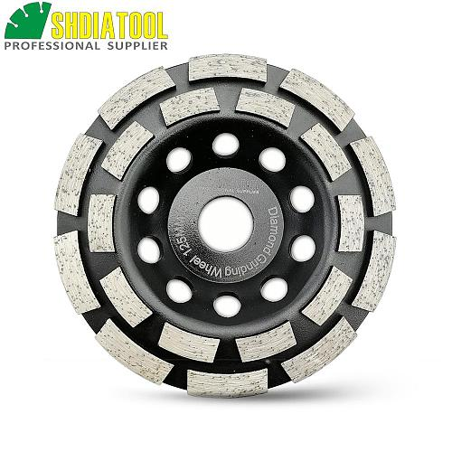 SHDIATOOL 5 Inches Metal Bond Diamond Double Row Grinding Cup Wheel 125MM Grinding Disc Bore 7/8  22.23mm Concrete Granite