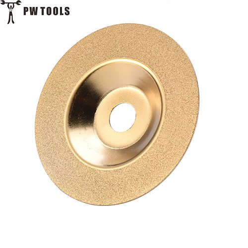 PW TOOLS 100 mm Gold Diamond Titanium Grinding Wheel Polishing Disc Pads Grinder Cup Angle Grinder Rotary Tool Grind Stone Glass