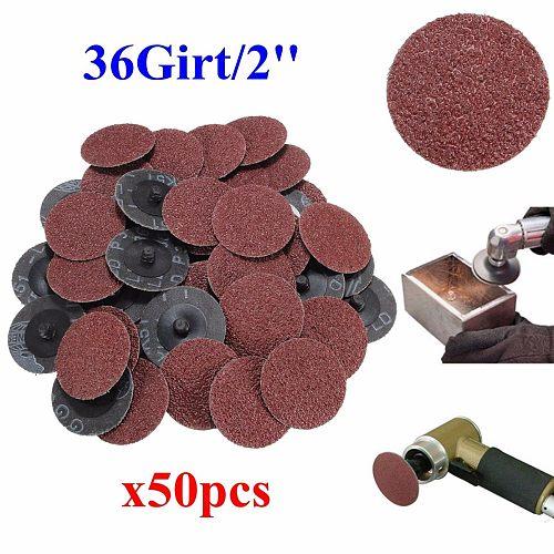 50Pcs/set Sanding Discs Sandpaper 36 Grit 2'' Roll Lock Type R Roloc for Dremel Abrasive Tool Sanding Discs Kit