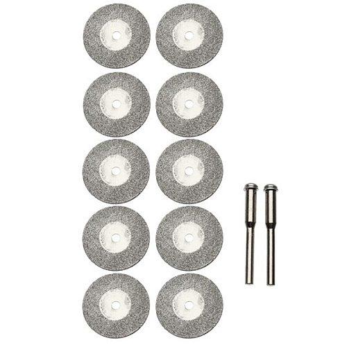 New 10pcs 25mm Diamond Grinding Cutting Discs Rotary Blades Cutting Wheel Slice for Dremel Electric Grinder 2 Mandrels