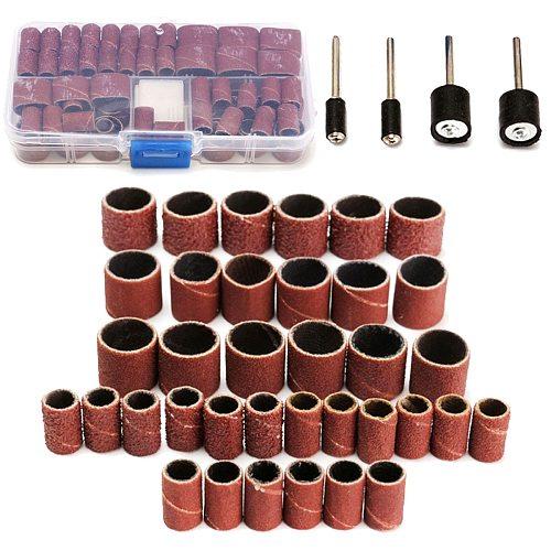 104Pcs/set 3/8 1/4  Sanding Bands Drums Sleeves 60 120 320 Grits W Mandrel For Dremel Good Thermal Conductivity