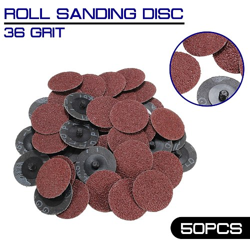36 Grit 50Pcs Sandpaper Sanding Discs 2'' Roll Lock Type R Roloc for Dremel Abrasive Tool Sanding Discs Kit