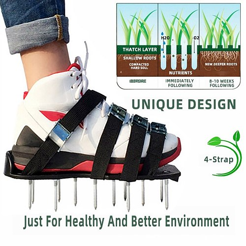 4 Straps Garden Yard Lawn Aerator Shoes 1 Pair Grass Spiked Lawn Walking Revitalising Aerator Sandals Nail Shoes For Garden lawn