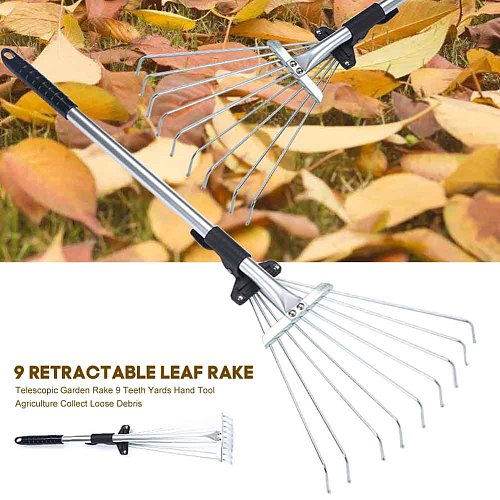 Fan Broom Telescopic Garden Rake Lightweight 9 Teeth Yards Hand Tool Agriculture Collect Loose Debris Garden Tool