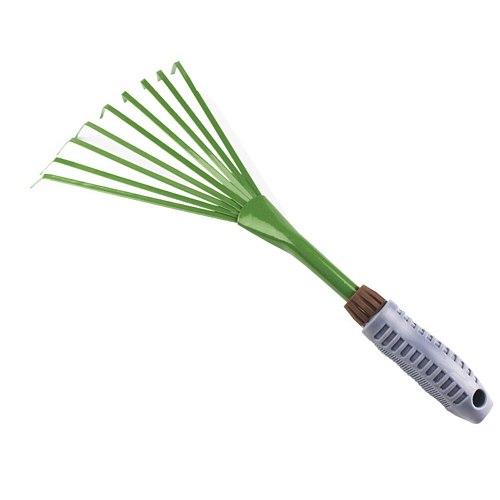 Grass Rake Thicken Courtyard Tools Loose Soil Practical Shovel Garden Widen Durable Nine Teeth Portable Green Iron